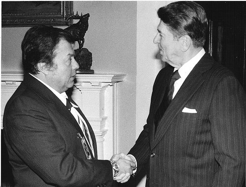 Luis Ariel Ramos and the President Ronald Reagan.