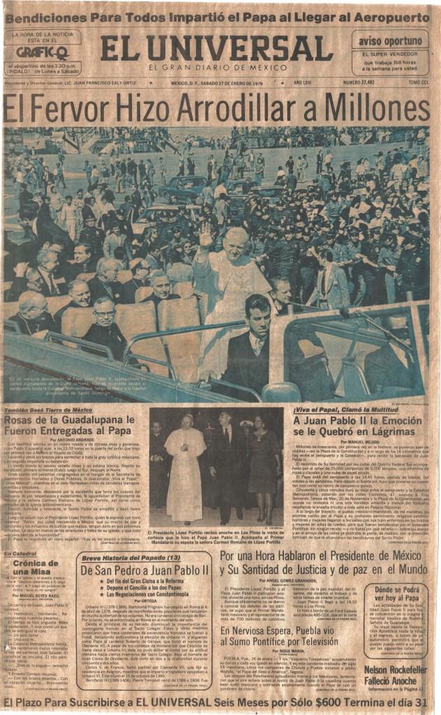 """""""El Fervor hiso arrodillars a millones"""". El Universal. Mexico, 27 de Enero de 1979,"""